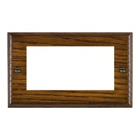 Picture of 4 Module EuroFix Plate / Woods Dark Oak Ovolo Edge with White Surround Inserts