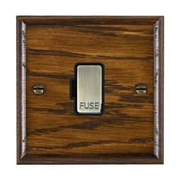 Picture of 1 Gang 13A Fuse Only / Antique Brass / Woods Dark Oak Ovolo Edge with Black Surround Inserts