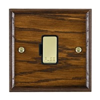 Picture of 1 Gang 13A Fuse Only / Polished Brass / Woods Dark Oak Ovolo Edge with Black Surround Inserts