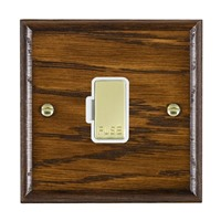 Picture of 1 Gang 13A Fuse Only / Polished Brass / Woods Dark Oak Ovolo Edge with White Surround Inserts