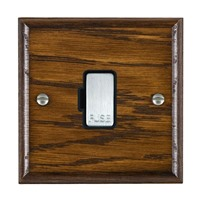 Picture of 1 Gang 13A Fuse Only / Satin Chrome / Woods Dark Oak Ovolo Edge with Black Surround Inserts