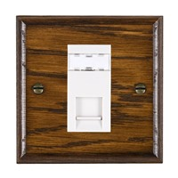 Picture of 1 Gang RJ12 Outlet Unshielded / White Plastic / Woods Dark Oak Ovolo Edge with White Surround Inserts