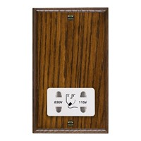 Picture of Shaver Dual Voltage Unswitched Socket / White Plastic / Woods Dark Oak Ovolo Edge with White Surround Inserts