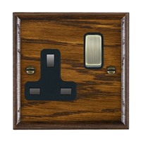 Picture of 1 Gang 13A Double Pole Switched Socket / Antique Brass / Woods Dark Oak Ovolo Edge with Black Surround Inserts
