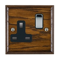 Picture of 1 Gang 13A Double Pole Switched Socket / Bright Chrome / Woods Dark Oak Ovolo Edge with Black Surround Inserts