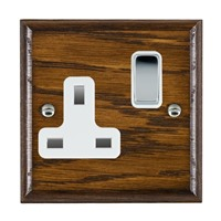 Picture of 1 Gang 13A Double Pole Switched Socket / Bright Chrome / Woods Dark Oak Ovolo Edge with White Surround Inserts