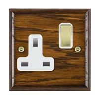 Picture of 1 Gang 13A Double Pole Switched Socket / Polished Brass / Woods Dark Oak Ovolo Edge with White Surround Inserts