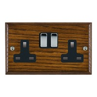 Picture of 2 Gang 13A Double Pole Switched Socket / Bright Chrome / Woods Dark Oak Ovolo Edge with Black Surround Inserts