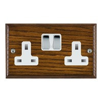 Picture of 2 Gang 13A Double Pole Switched Socket / Bright Chrome / Woods Dark Oak Ovolo Edge with White Surround Inserts