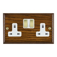 Picture of 2 Gang 13A Double Pole Switched Socket / Polished Brass / Woods Dark Oak Ovolo Edge with White Surround Inserts