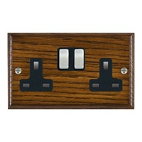 Picture of 2 Gang 13A Double Pole Switched Socket / Satin Chrome / Woods Dark Oak Ovolo Edge with Black Surround Inserts
