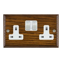 Picture of 2 Gang 13A Double Pole Switched Socket / Satin Chrome / Woods Dark Oak Ovolo Edge with White Surround Inserts