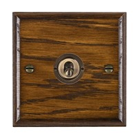 Picture of 1 Gang 20AX 2 Way Toggle Switch / Antique Brass / Woods Dark Oak Ovolo Edge with White Surround Inserts