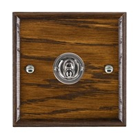 Picture of 1 Gang 20AX 2 Way Toggle Switch / Bright Chrome / Woods Dark Oak Ovolo Edge with White Surround Inserts