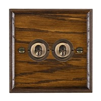 Picture of 2 Gang 20AX 2 Way Toggle Switch / Antique Brass / Woods Dark Oak Ovolo Edge with White Surround Inserts
