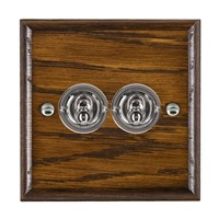Picture of 2 Gang 20AX 2 Way Toggle Switch / Bright Chrome / Woods Dark Oak Ovolo Edge with White Surround Inserts