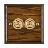 Picture of 2 Gang 20AX 2 Way Toggle Switch / Polished Brass / Woods Dark Oak Ovolo Edge with White Surround Inserts