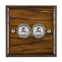Picture of 2 Gang 20AX 2 Way Toggle Switch / Satin Chrome / Woods Dark Oak Ovolo Edge with White Surround Inserts