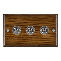 Picture of 3 Gang 20AX 2 Way Toggle Switch / Bright Chrome / Woods Dark Oak Ovolo Edge with White Surround Inserts