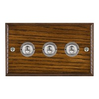 Picture of 3 Gang 20AX 2 Way Toggle Switch / Satin Chrome / Woods Dark Oak Ovolo Edge with White Surround Inserts