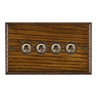 Picture of 4 Gang 20AX 2 Way Toggle Switch / Antique Brass / Woods Dark Oak Ovolo Edge with White Surround Inserts