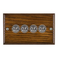 Picture of 4 Gang 20AX 2 Way Toggle Switch / Bright Chrome / Woods Dark Oak Ovolo Edge with White Surround Inserts