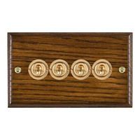 Picture of 4 Gang 20AX 2 Way Toggle Switch / Polished Brass / Woods Dark Oak Ovolo Edge with White Surround Inserts