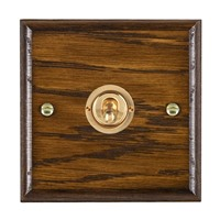 Picture of 1 Gang 20AX Intermediate Toggle Switch / Polished Brass / Woods Dark Oak Ovolo Edge with White Surround Inserts