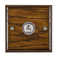 Picture of 1 Gang 20AX Intermediate Toggle Switch / Satin Chrome / Woods Dark Oak Ovolo Edge with White Surround Inserts