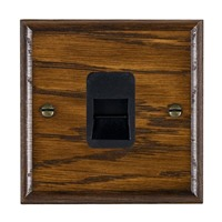 Picture of 1 Gang Telephone Slave / Black Plastic / Woods Dark Oak Ovolo Edge with Black Surround Inserts