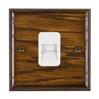 Picture of 1 Gang Telephone Slave / White Plastic / Woods Dark Oak Ovolo Edge with White Surround Inserts