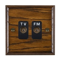Picture of Isolated TV/FM Diplexer 1 In/ 2 Out / Black Plastic / Woods Dark Oak Ovolo Edge with Black Surround Inserts