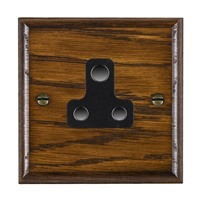 Picture of 1 Gang 5A Unswitched Socket / Black Plastic / Woods Dark Oak Ovolo Edge with Black Surround Inserts