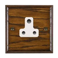 Picture of 1 Gang 5A Unswitched Socket / White Plastic / Woods Dark Oak Ovolo Edge with White Surround Inserts