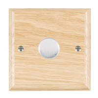 Picture of 1 Gang 200VA 2 Way Dimmer / Satin Chrome / Woods Light Oak Ovolo Edge