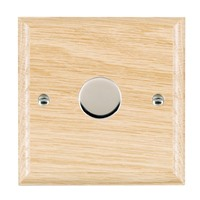 Picture of 1 Gang 400W 2 Way Dimmer / Bright Chrome / Woods Light Oak Ovolo Edge