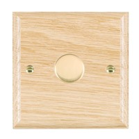 Picture of 1 Gang 250W/210VA Trailing Edge Multi-Way Dimmer / Polished Brass / Woods Light Oak Ovolo Edge