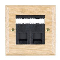Picture of 2 Gang RJ45 CAT 5E Outlet Unshielded / Black Plastic / Woods Light Oak Ovolo Edge with Black Surround Inserts