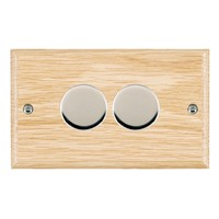 Picture of 2 Gang 400W 2 Way Dimmer / Bright Chrome / Woods Light Oak Ovolo Edge