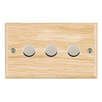 Picture of 3 Gang 400W 2 Way Dimmer / Bright Chrome / Woods Light Oak Ovolo Edge