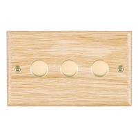 Picture of 3 Gang 400W 2 Way Dimmer / Polished Brass / Woods Light Oak Ovolo Edge