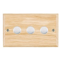 Picture of 3 Gang 400W 2 Way Dimmer / Satin Chrome / Woods Light Oak Ovolo Edge