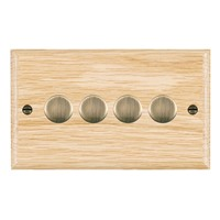 Picture of 4 Gang 400W 2 Way Dimmer / Antique Brass / Woods Light Oak Ovolo Edge