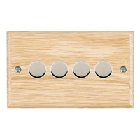 Picture of 4 Gang 400W 2 Way Dimmer / Bright Chrome / Woods Light Oak Ovolo Edge