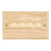 Picture of 4 Gang 400W 2 Way Dimmer / Polished Brass / Woods Light Oak Ovolo Edge