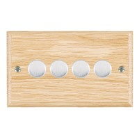 Picture of 4 Gang 400W 2 Way Dimmer / Satin Chrome / Woods Light Oak Ovolo Edge