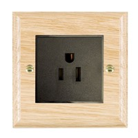 Picture of 1 Gang 15A American Unswitched Socket / Black Plastic / Woods Light Oak Ovolo Edge with Black Surround Inserts