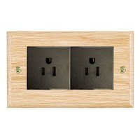 Picture of 2 Gang 15A American Unswitched Socket / Black Plastic / Woods Light Oak Ovolo Edge with Black Surround Inserts
