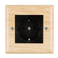 Picture of 1 Gang 16A German Unswitched Socket / Black Plastic / Woods Light Oak Ovolo Edge with Black Surround Inserts