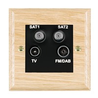 Picture of Non Isolated TV/ FM/ Satellite 1/ Satellite 2/ 1 Quadplexer 2 In/ 4 Out / Black Plastic / Woods Light Oak Ovolo Edge with Black Surround Inserts